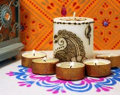 Mehndi Henna Candles : Henna inspired candles hand painted unique vibrant colors