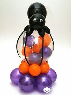 Spider Helium Decoration - Step by step article Balloon Decorations Without Helium, Balloon Centerpieces, Balloon Ideas, Halloween Balloons, Halloween Decorations, Minnie Mouse Balloons, Halloween Outside, Balloons Galore, Manualidades Halloween