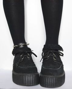 Goth style. Black lace socks. Spiked anklet. Black creepers.