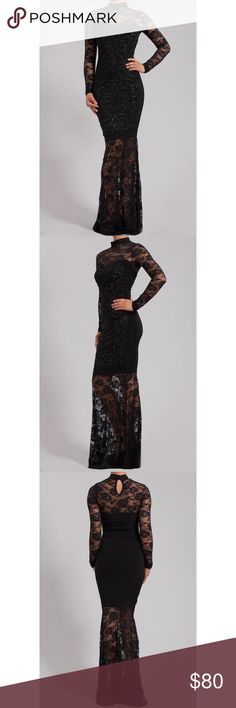 SALE NWOT beaded lace maxi dress NWOT lace maxi dress. Never worn - I'm super short and this was just way too long on me and I never took it to be hemmed. (I'm 5' tall so this was just way too long on me). But my mom gave it to me to wear to my cousins black tie wedding - didn't work out so I just wore a dress I already had. No size or brand tag on interior. Best fit for XS-S. Very stretchy material. See through in the arms and from above the knee down. Keyhole opening in the back…