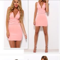 Pink bodycon dress MEDIUM. So PRETTY SO PRETTY. I'm 5'10 and it was a little short but honestly the prettiest dress I've tried on. New with tags, bought last week from a posher. Dresses Mini