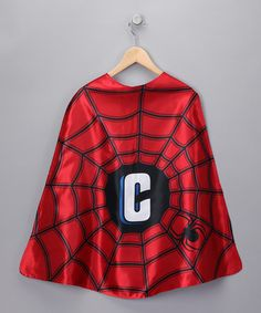 Take a look at this Razzle Kids Red Superhero Spider Initial Cape by Birthday Best Collection on #zulily today!