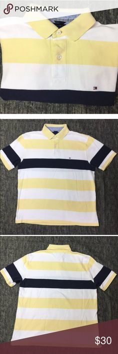 Tommy Hilfiger Mens Blue White Yellow Polo L Tommy Hilfiger Mens Blue White Yellow Striped Polo Shirt Size L Large  Bundle for 15% discount 👌🏽 Tommy Hilfiger Shirts Polos