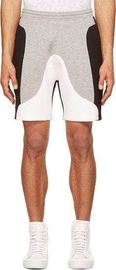 Neil Barrett Grey & Black Neoprene Shorts