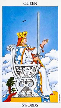 The Queen of Swords (air) sits high on her throne with a stern look on her face indicating that no one can fool her. In her right hand, she holds a sword pointed to the sky, and her left hand extends as if she has something to offer others. Behind her is a spring sky, different from the winter settings on most Sword cards. The sky is clear, representing her mental clarity as she considers matters of the intellect. The bird above her head symbolises the mind's ability to soar above the…