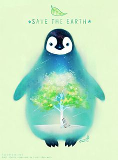SAVE THE EARTH & PENGUIN 2015.4 / digital painting