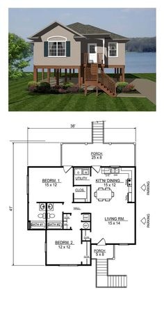 Coastal House Plan. Total Living Area: 1013 sq. ft., 2 bedrooms and 2 bathrooms. Plan 96705.