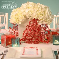 Painted coral and gardenia centerpieces. love the bright red coral and aqua! Coral Centerpieces, Beach Wedding Centerpieces, Wedding Decorations, Centerpiece Ideas, Graduation Centerpiece, Simple Centerpieces, Chic Wedding, Our Wedding, Wedding Table