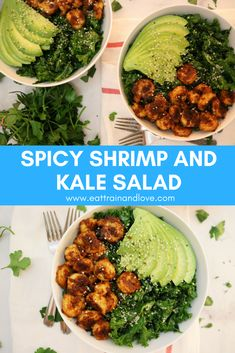 Click for the recipe for this Spicy Shrimp and Kale salad that is a bright, clean, fresh salad recipe to eat for lunch or dinner. The shrimp are spicy, and so easy to make and packed with lean protein to keep you full with minimal calories. This makes the perfect Spring or Summer salad to keep you fueled and feeling lean and energized | healthy salad recipes | clean eating | shrimp salad | kale salad | avocado | meal prep | easy meals | cooking for one