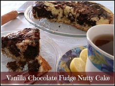 Vanilla Chocolate Marble Fudge Nutty Cake Recipe