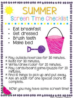 Free Summer Screen Time Checklist Do your kids wake up in the summer and immediately ask for screen time? This handy printable checklist will help you and your family establish a healthy summer routine!Get the free download HERE! checklist free summer printable Mrs. Thompson's Treasures summer activities