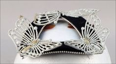 Bes-Ben 'Butterfly' hat | Made in Chicago, United States | Triangular open crown hat holds three metal butterflies and is trimmed with white beads