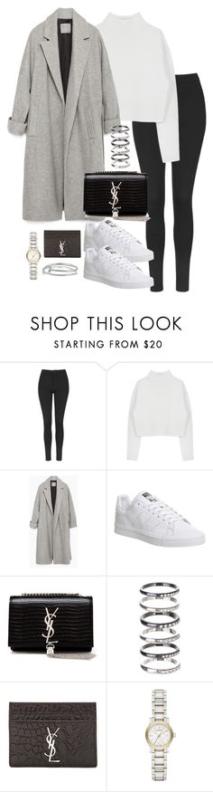 """""""Untitled #5187"""" by theeuropeancloset ❤ liked on Polyvore featuring Topshop, Dion Lee, Zara, adidas, Yves Saint Laurent, M.N.G, Burberry and Kenneth Jay Lane"""