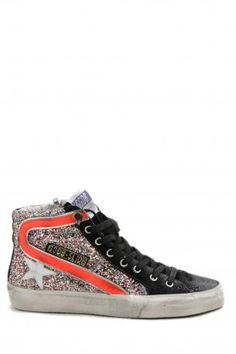 Golden Goose shoes - sneakers slide glitter multicolor - high Sneakers from Golden Goose, with multicolor glitter, black on the front with white star and orange band on the sides, laced + zip closure, rubber sole. Insole heeled 2,5 cm. Golden Goose collection Spring Summer 2013. Golden Goose deluxe brand Venezia. Made in Italy.