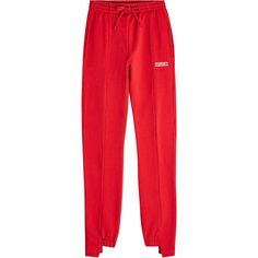 Vetements Cotton Sweatpants ($630) ❤ liked on Polyvore featuring activewear, activewear pants, red, red sweat pants, red sweatpants, sweat pants, cotton sweatpants and cotton sweat pants