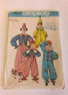 Halloween Unisex Clown Suit Hat Toddler Size 2-4 Pattern Uncut 1975 in Crafts, Sewing & Fabric, Sewing | eBay