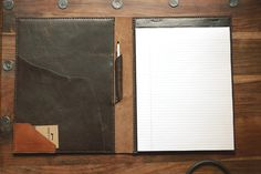 craftandlore:  Hand stitched notepad holder in Horween's Derby Brown Nut leather.