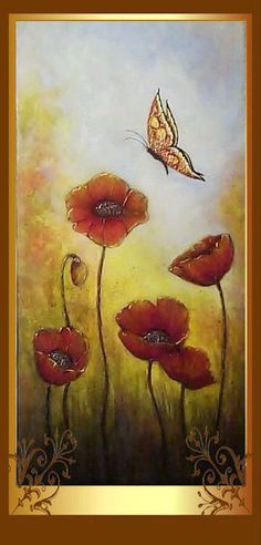 TUTORIAL  Acrylic & Mixed Media Painting Poppies by CFJernigan, $6.99