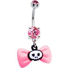 Pink Gem Bow Skull Belly Ring