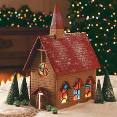 Gingerbread Country Church Recipe--I need to conquer the gingerbread house with stained glass windows!