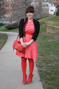 Bright red Valentine's day tights and red dress with white polka dots + black coat