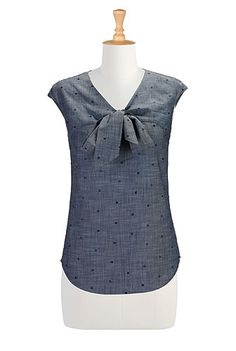 Crafted dots chambray blouse from eShakti