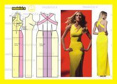Modelagem vestido com decote em X nas costas Fonte: https://www.facebook.com/photo.php?fbid=563820380320538=a.426468314055746.87238.422942631074981=1