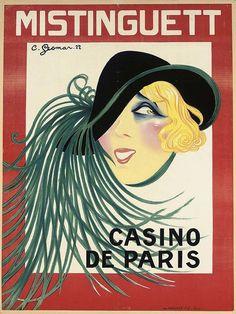 1926 Mistinguett French Cabaret Singer 20x30 Moulin Rouge Advertising Poster