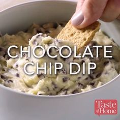 Is there a kid alive (or a kid at heart) who wouldn't gobble up this chocolate chip dip with graham crackers It beats dunking them in milk, hands down! You can also try it with apple wedges —Heather Koenig, Prairie du Chien, Wisconsin - food_drink Dessert Dips, Dessert Recipes, Easy Desserts, Delicious Desserts, Yummy Food, Chip Dip Recipes, Bar Recipes, Free Recipes, Recipies