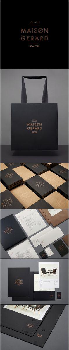 Branding, identité graphique, cool, noir, or, carte de visite, sac commercial, maison gerard.