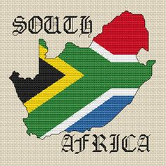 South Africa Map & Flag Cross Stitch Chart Only