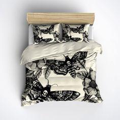 Featherweight Moth Skull Bedding -  Black Skull Death Moth Print  on Cream - Comforter Cover - Skull Duvet Cover, Skull Bedding Set