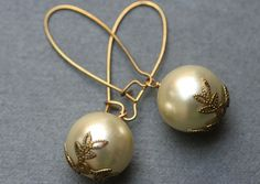Big Pearl  Earrings  Long Simple Pearl Earrings by madebymoe, $20.00