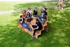 wooden stair-like public furniture by sebastian marbacher