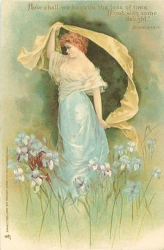 "Vintage card 1903 / ""Girl in blue with yellow throw, iris"" / Great Britain / Frances Brundage"