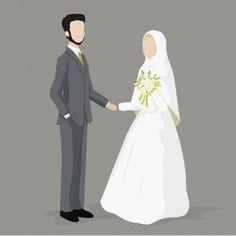 Muslim wedding couple, bride and groom premium vector Bride And Groom Cartoon, Wedding Couple Cartoon, Wedding Illustration, Couple Illustration, Vector Character, Portrait Vector, Wedding Caricature, Wallpaper Hp, Muslimah Wedding