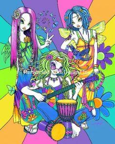 Rainbow Flower Child Bandcross stitch chart