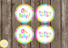 PRINTABLE Dr. Seuss Oh The Places You'll Go Cupcake Toppers by HilltopCustomDesigns, $3.50