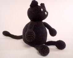 Black cat crochet toy by:-Kismomo