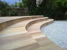 Curved Deck Stairs Spaces Ideas For 2019 Hot Tub Pergola, Curved Pergola, Deck Pergola, Deck Patio, Patio Steps, Deck Stair Railing, Railings, Outdoor Patio Umbrellas, Rooftop Garden
