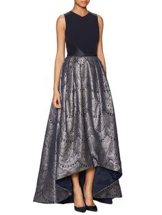 High-Low Jacquard Gown by Theia at Gilt