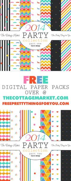 Free Printable Party Collection Digital Paper Packs from The Cottage Market and Free Pretty Things for You