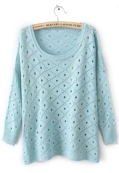 Blue Round Neck Long Sleeve Hollow Diaper Sweater
