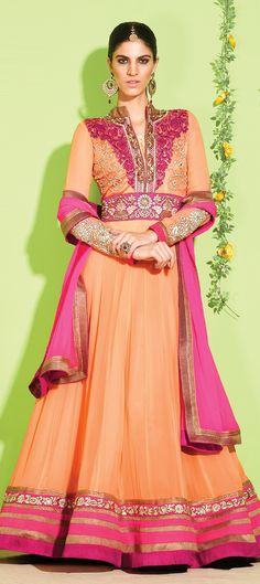 5,700 Cost includes Dress material for Kameez, Bottom & Dupatta. Worldwide Shipping is FREE (Guaranteed 2 Business days dispatch) Tentative Delivery By 12 Feb, 2015  407507: Orange color family unstitched Anarkali Suits.