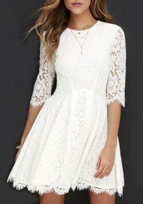 White Plain Lace Round Neck Elbow Sleeve Cute Homecoming Mini Dress
