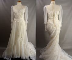 $145.00 As-Is. vintage 80s Wedding Dress w/ Long Train. or Customizable. Zombie Bride. Corpse Bride Costume. OPTIONAL BLOOD & DISTRESSING size M 10 by wardrobetheglobe on Etsy
