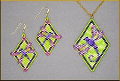 Dragonfly Brick Stitch Pendant and Earring Patterns by Kristy Zgoda Beaded Earrings Patterns, Peyote Patterns, Beading Patterns, Beaded Necklaces, Bracelet Patterns, Seed Bead Jewelry, Seed Bead Earrings, Seed Beads, Beading Techniques