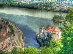 Confluence of the Ilz, Danube, and Inn Rivers in Passau, Germany