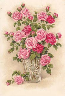 Vintage postcard of pink roses in a crystal vase Images Vintage, Art Vintage, Vintage Pictures, Vintage Cards, Vintage Postcards, Decoupage Vintage, Decoupage Paper, Art Floral, Floral Prints