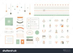 Vector flat icons and decor elements. Merry Christmas and Happy New Year. Nice details and easily identifiable. Useful for holidays infographics.